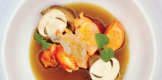 Le homard de Bretagne et Le cèpe, Consommé de cèpe shiso pimprenelle géranium