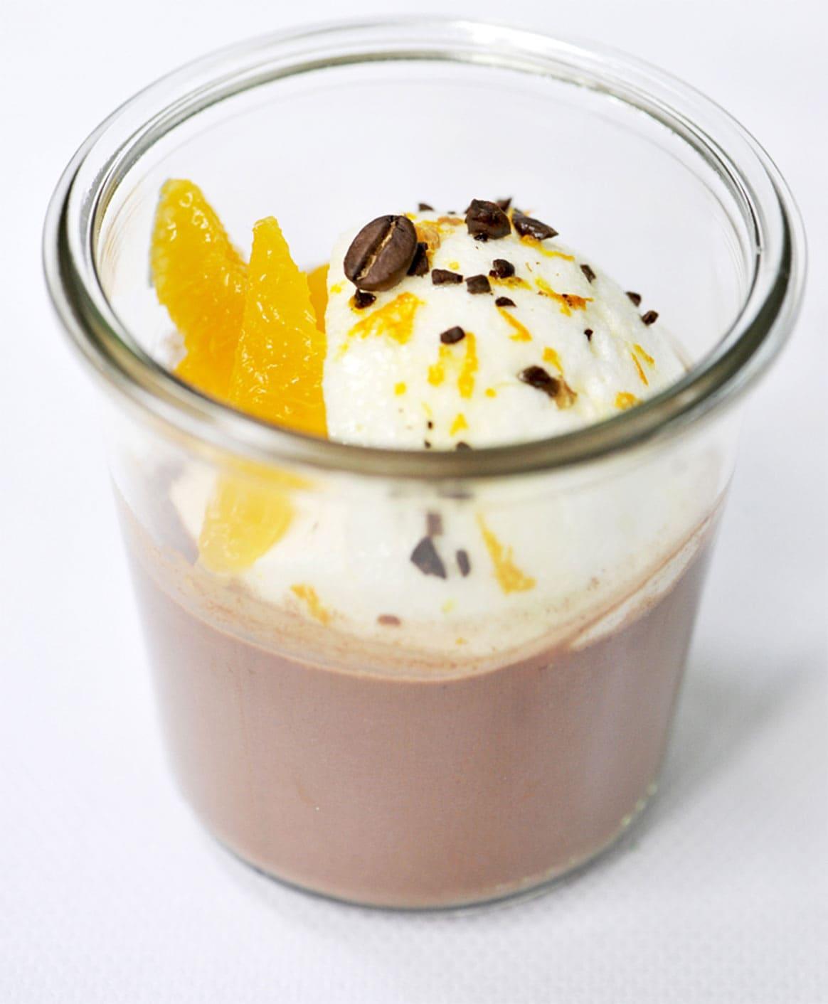 Île flottante café mandarine chocolat chaud