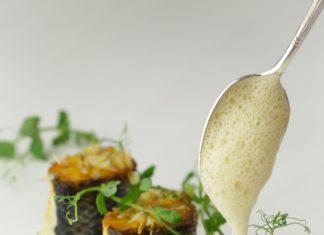 Arnaud LALLEMENT Bar de ligne, petits pois de coquillages poivrée