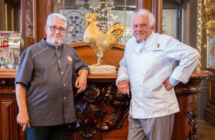 Michel Rostang en cuisine, au Train Bleu